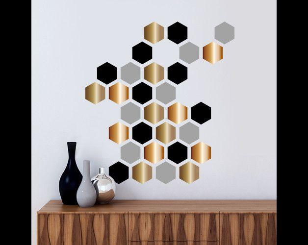 Simple Wandtattoo in grau gold und schwarz geometrische Formen f r deine Wand Dekoartikel
