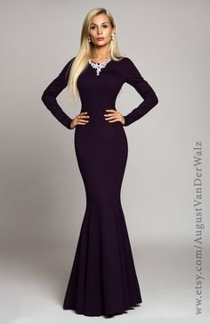 Purple evening dress maxi Autumn - Spring Long dark purple dress ...