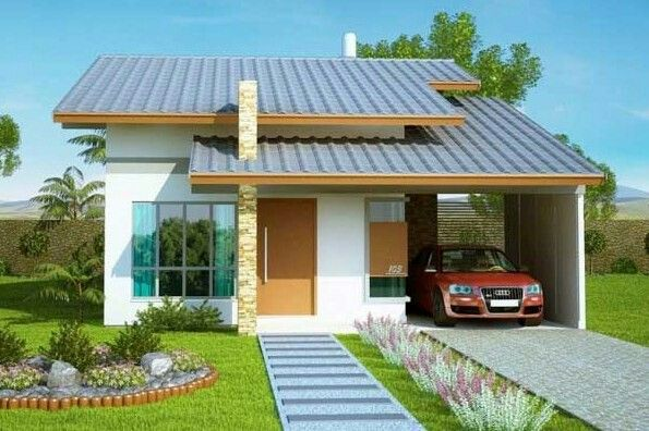 Fachada simple de una casa chica. Arquitectura Fachadas