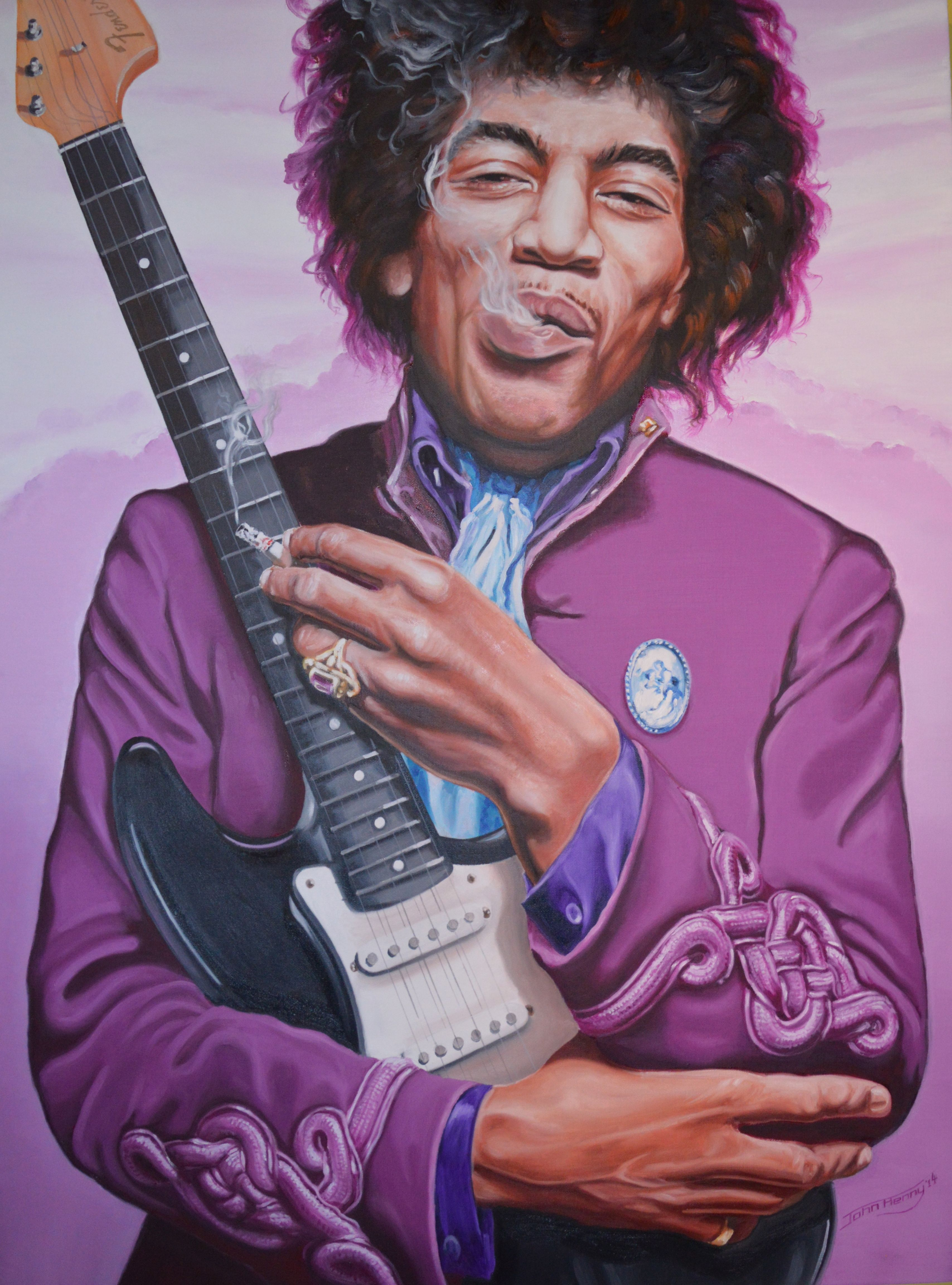 """Hendrix """"Purple Haze Revisited"""" Oil on canvas size 1016mm x 762mm For Sale £1660"""
