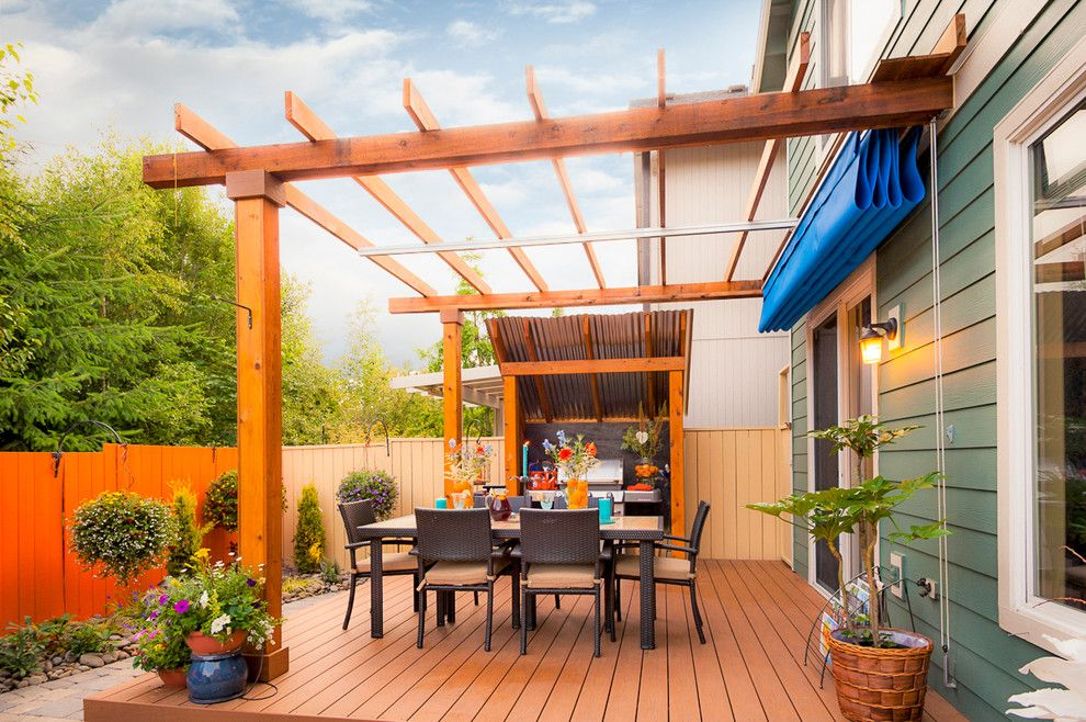 retractable roof pergola Deck Transitional with ambiance lighting Arbors  cedar - Retractable Roof Pergola Deck Transitional With Ambiance Lighting A