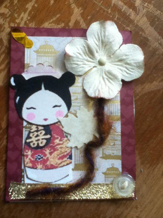 Geisha Kawaii Artist Trading Card ATC HANDMADE by PaperonSteroids, $2.50