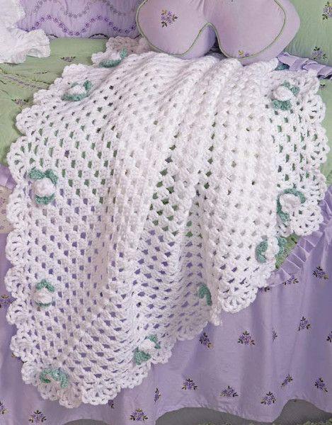 Floral Grannies Afghan Set Crochet Pattern | Florales, Conjuntos y ...