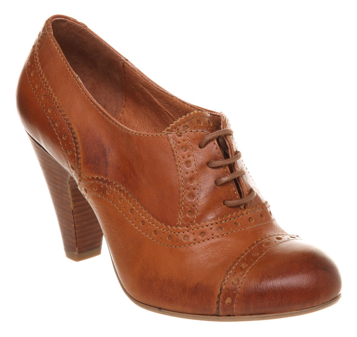Details About Womens Office Brogue Baby Tan Leather Heels