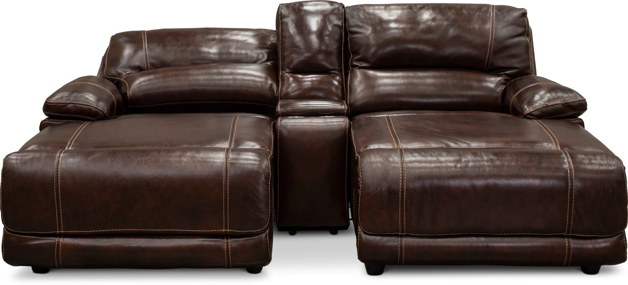 Brown leathermatch reclining double chaise sofa with