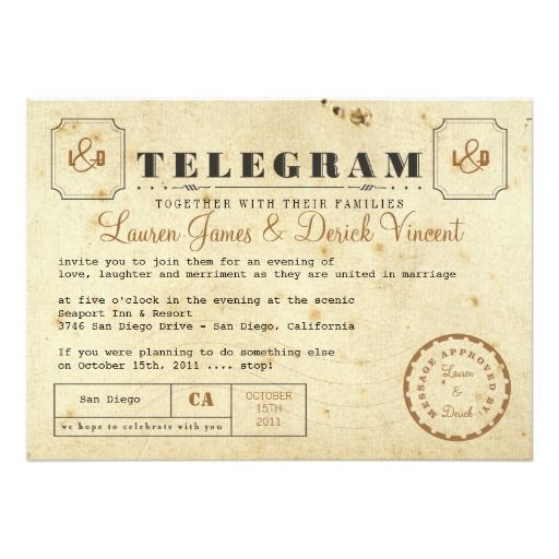 Free Telegram Wedding Invitation Template Vintage Postcard ZazzleWedding