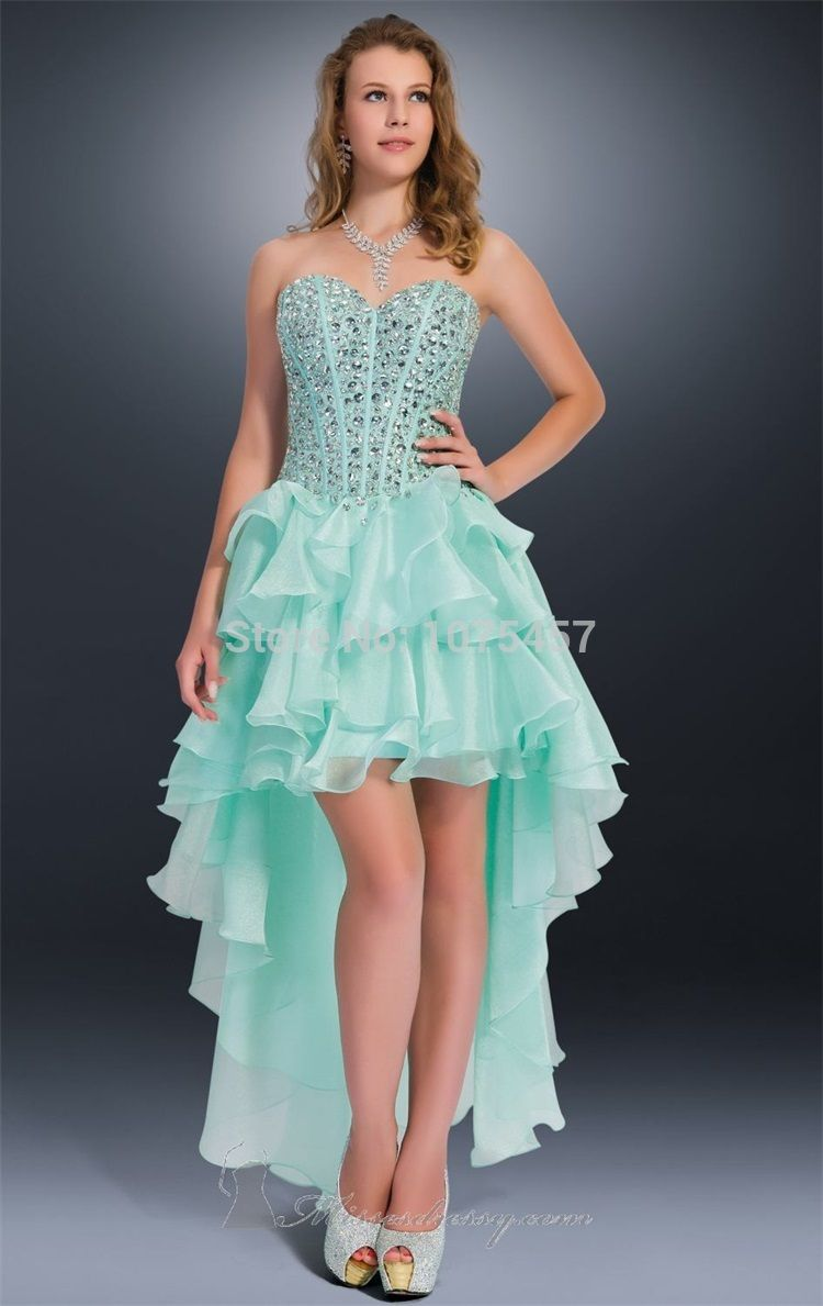 Click to Buy << Latest Design Mint Green Prom Dress with Crystal ...