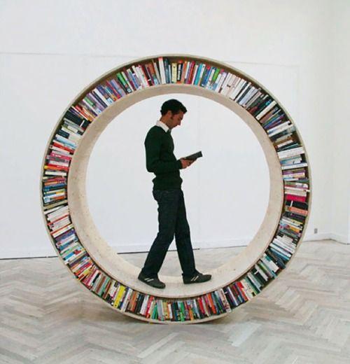 Circular walking bookshelf.