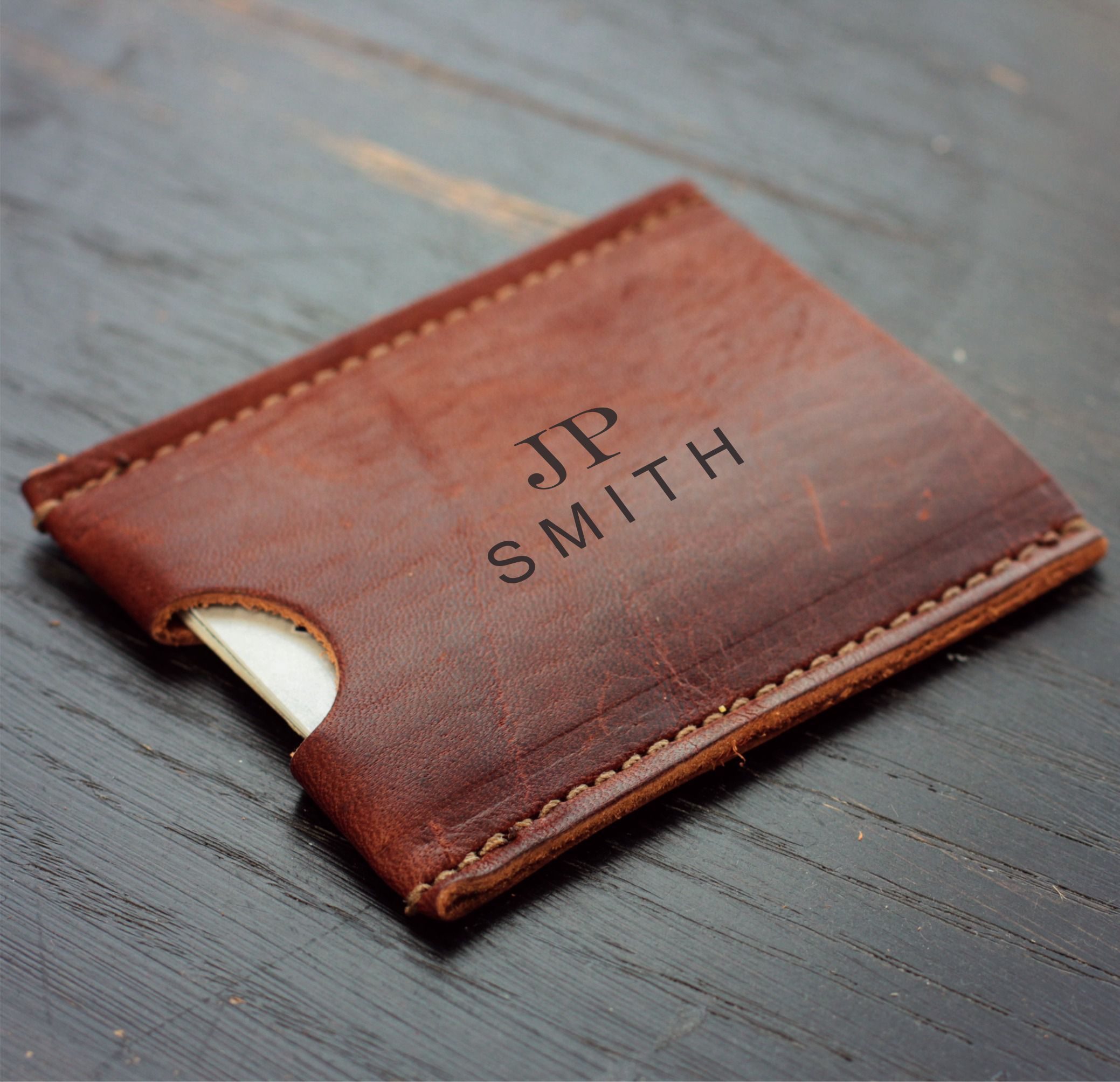 The Jefferson Leather Card Holder Wallet Personalized Groomsmen