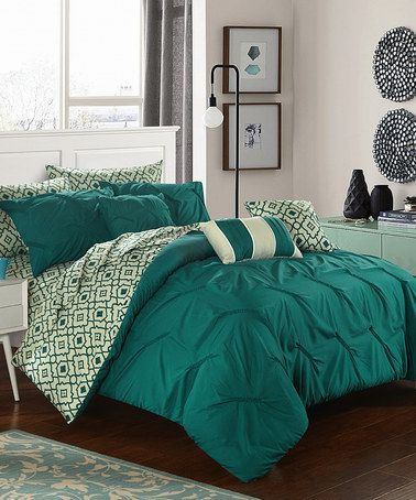 Look what I found on #zulily! Dark Green & Light Green Marquette Reversible Comforter Set #zulilyfinds