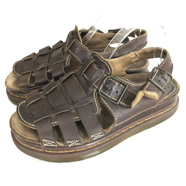 2ba16bdf375f Vtg Dr Doc Marten Fisherman Sandals Mens Size US 9 UK 8  8092 Dark Brown  England  DrMartens  Fisherman
