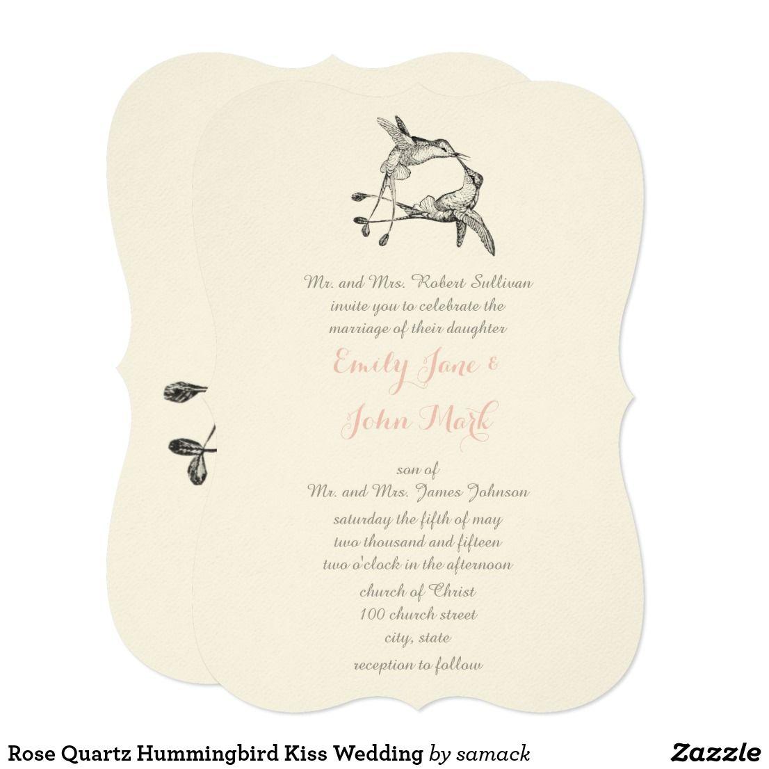 Rose Quartz Hummingbird Kiss Wedding Card | Wedding card, Favors and ...