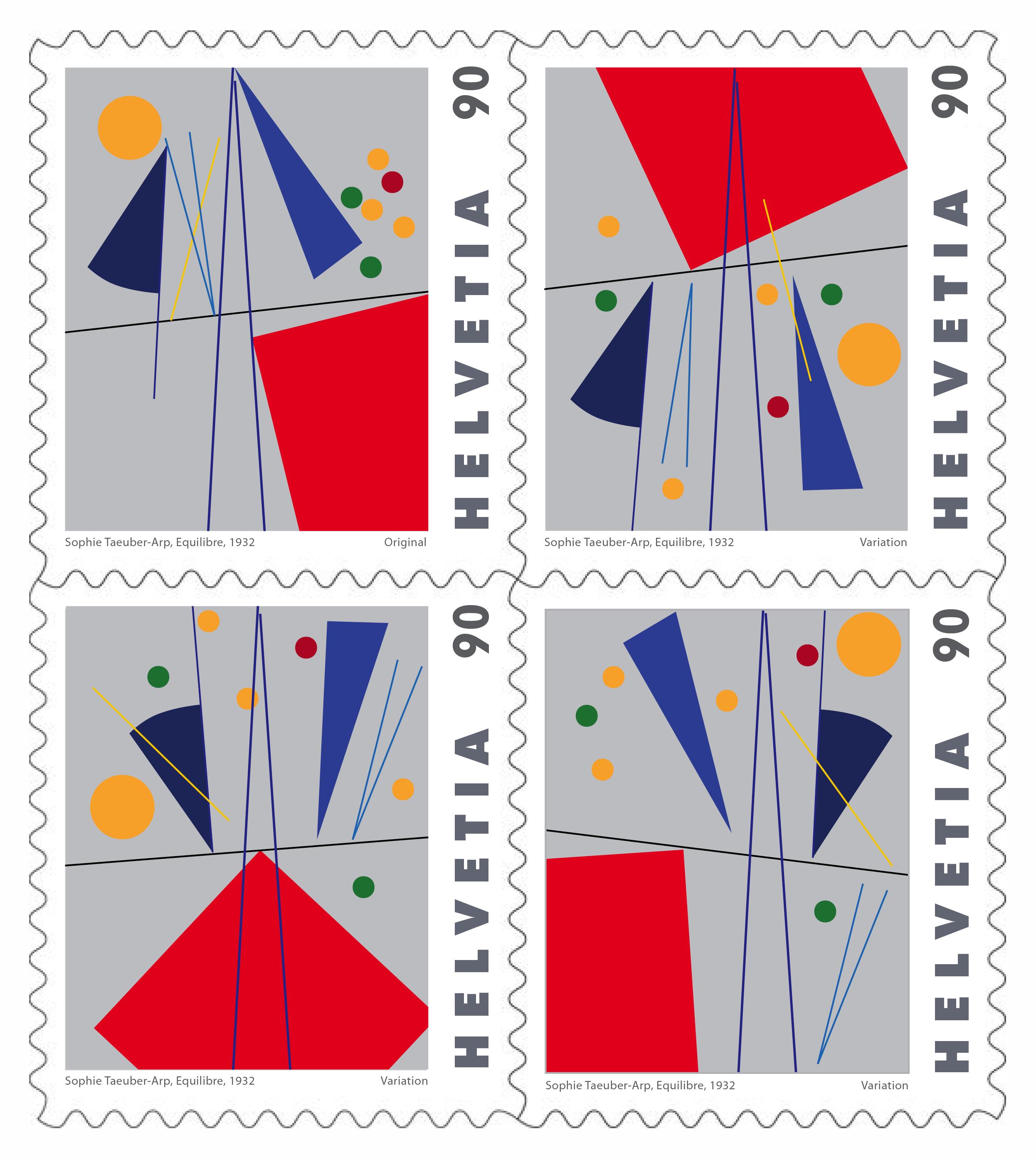 Sophie Taeuber-Arp, Equilibre, 1932 (Upper Left Corner) + Variations.