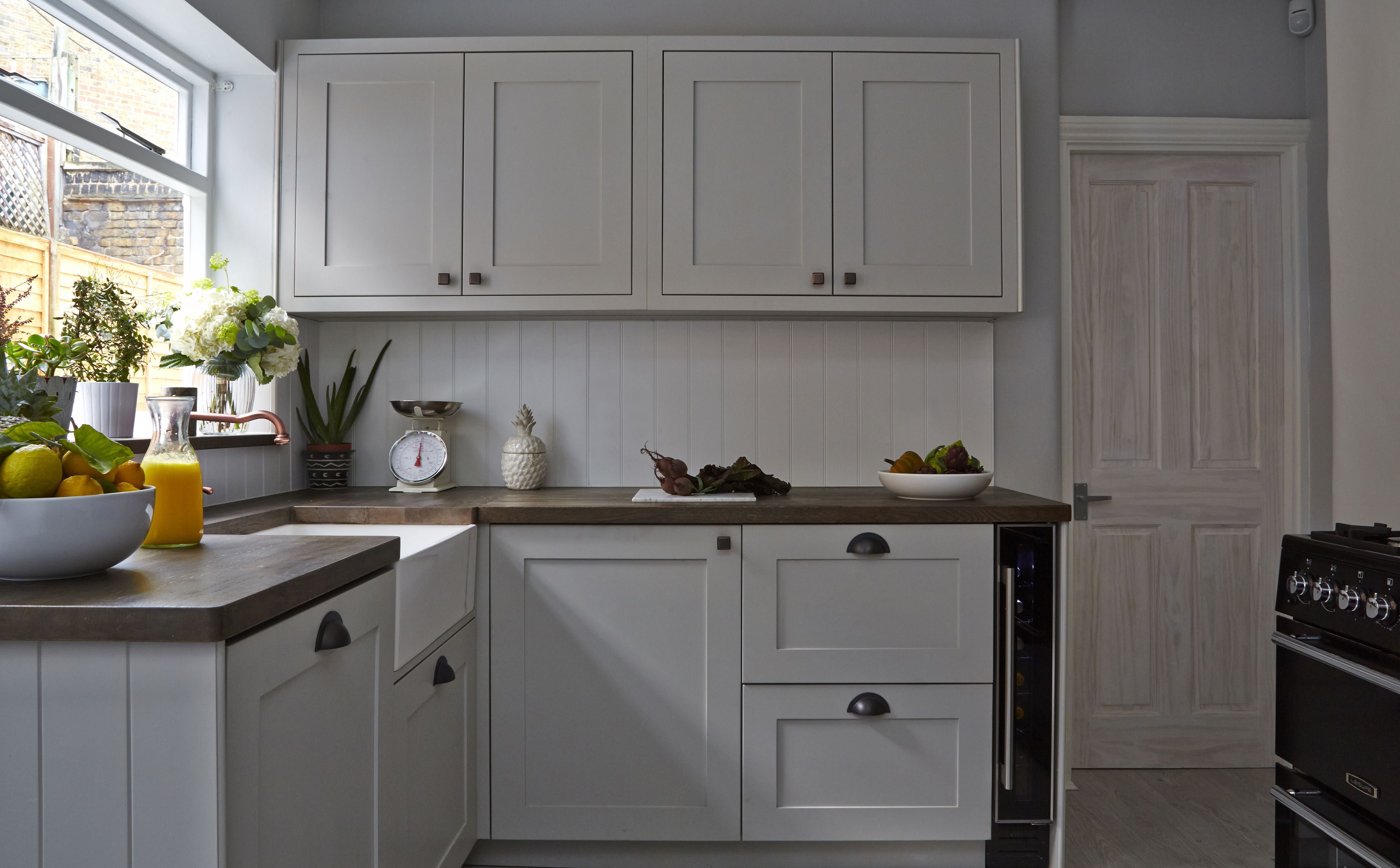 Battersea Townhouse, Bespoke Kitchen, Copper Tap, White Kitchen, White  Sink, Wooden