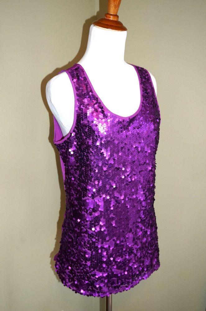 NWT Ann Taylor LOFT Purple Sequin Tank Top Shirt Blouse Small $44.99 NEW #AnnTaylorLOFT #Tank #Cami #sequintop
