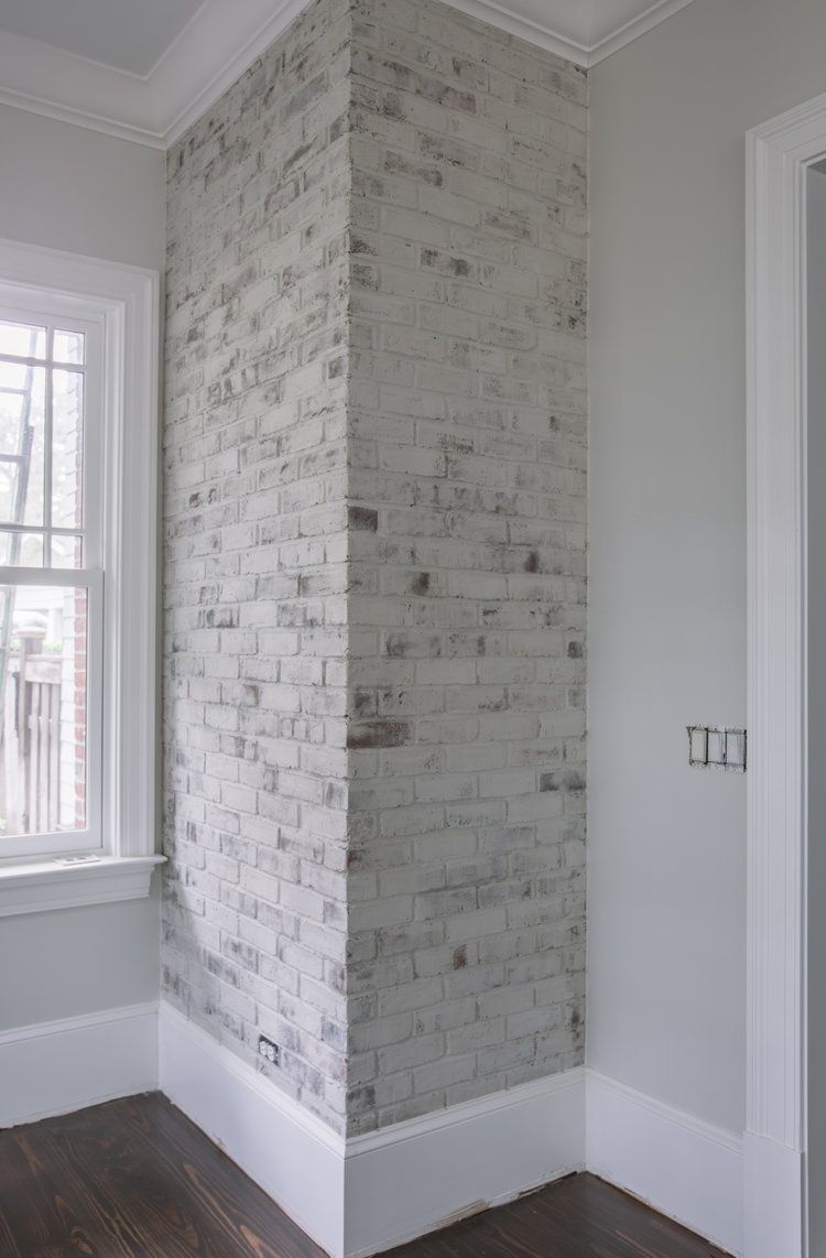 White Limewash On Brick And Antique Limewash On Wood Fireplace By Artistic Finishes Of North Florida P Painted Brick Walls Brick Interior Wall Exterior Brick