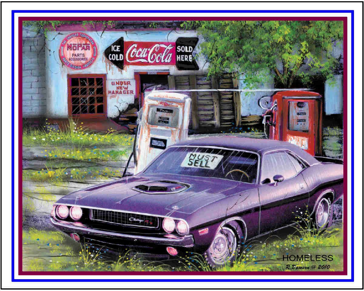 muscle car art print homeless handsigned and dated by