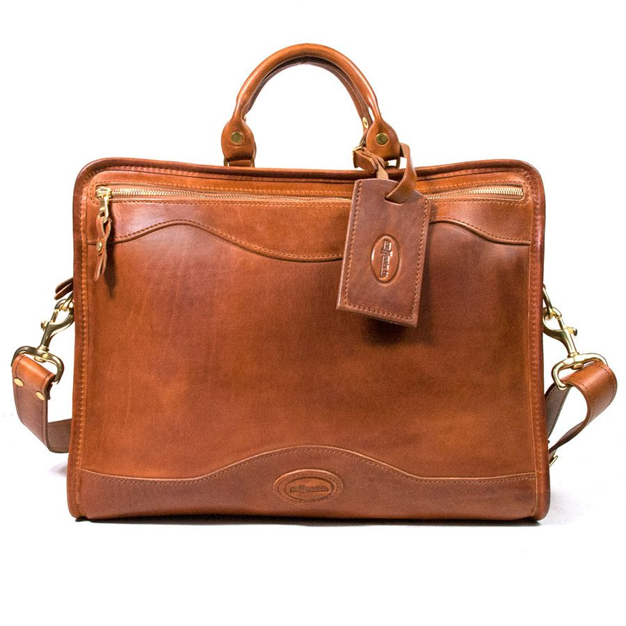 J. W. Hulme Co. Slim Portfolio Briefcase, Saddle Heritage Tan Leather