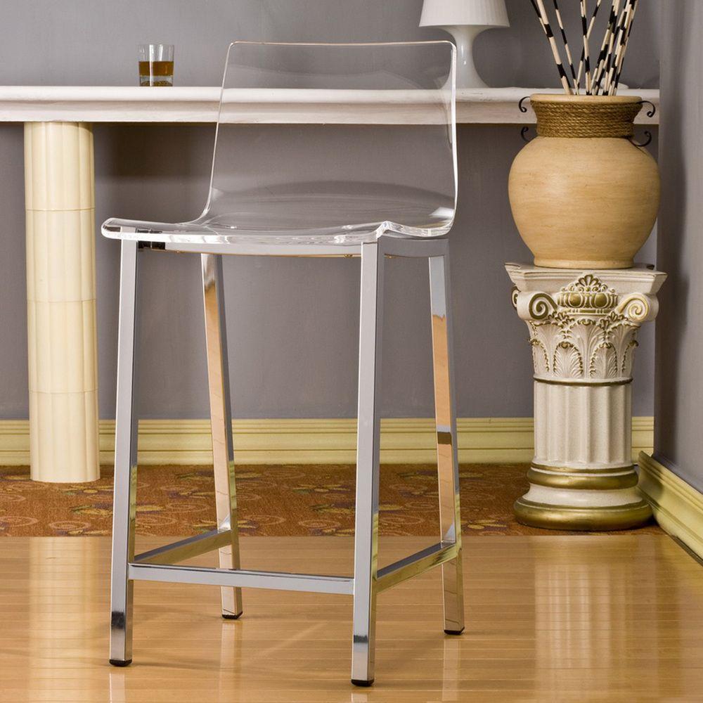 Sensational Pure Decor Clear Acrylic Counter Stool Set Of 2 Et Machost Co Dining Chair Design Ideas Machostcouk