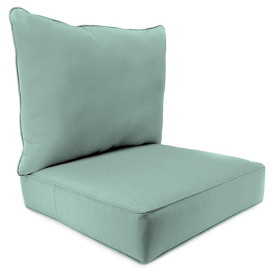 Solid 2 Piece Pillow Back Chair Cushion In Sunbrella Fabric
