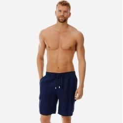 Photo of Herren Ready to Wear – Solid-Bermudashorts aus Leinen mit Cargotaschen – Bermuda – Baie – Blau – M