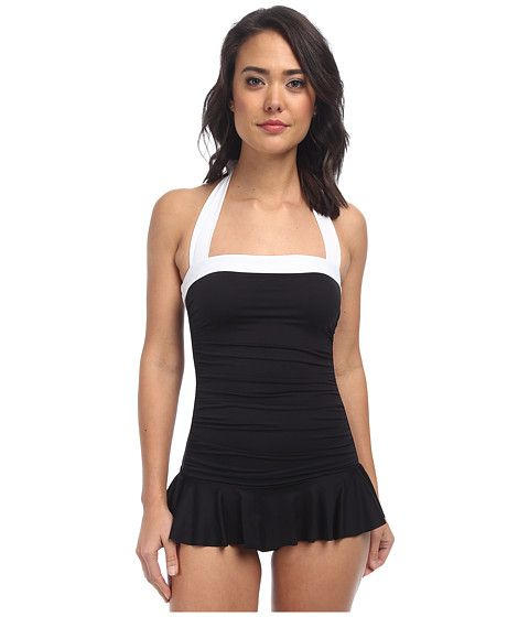 LAUREN by Ralph Lauren Bel Aire Shirred Bandeau Skirted Mio Slimming Fit One-Piece Black - Zappos.com Free Shipping BOTH Ways
