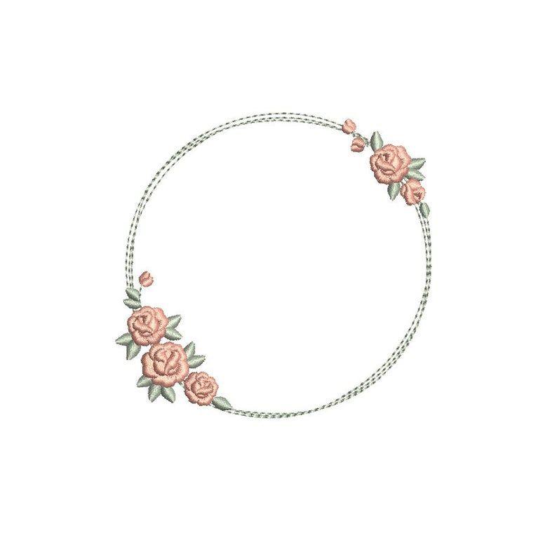 Zierliche Kranz von Rosen Floral Monogramm Rahmen Maschine