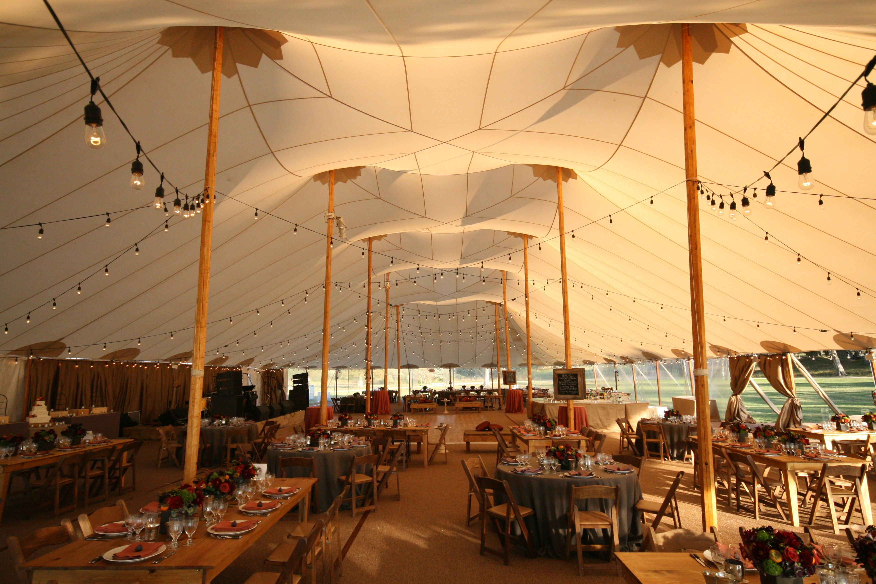 bistro cantina lighting in a sperry tent skyline tent company