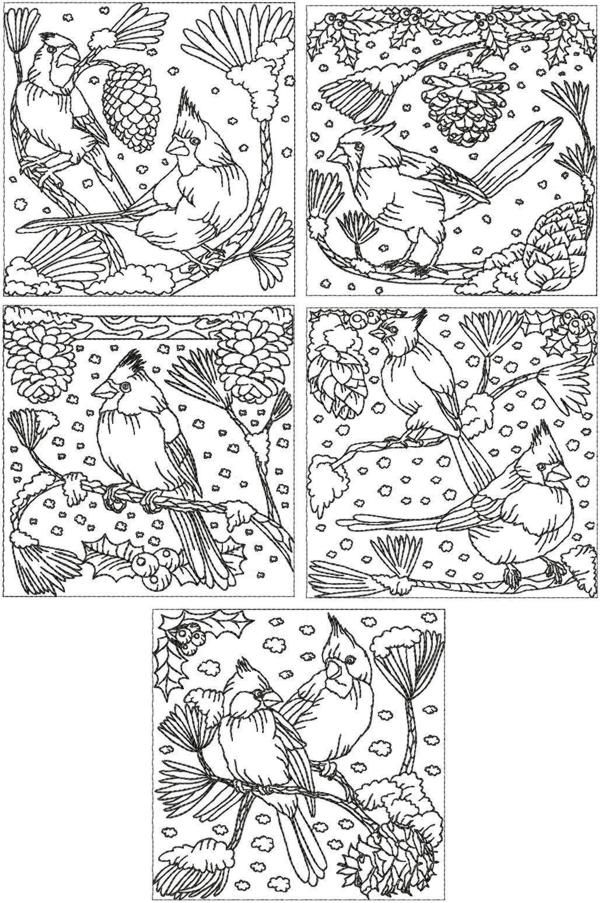 Advanced Embroidery Designs - Redwork Cardinal Set | Coloring Pages ...