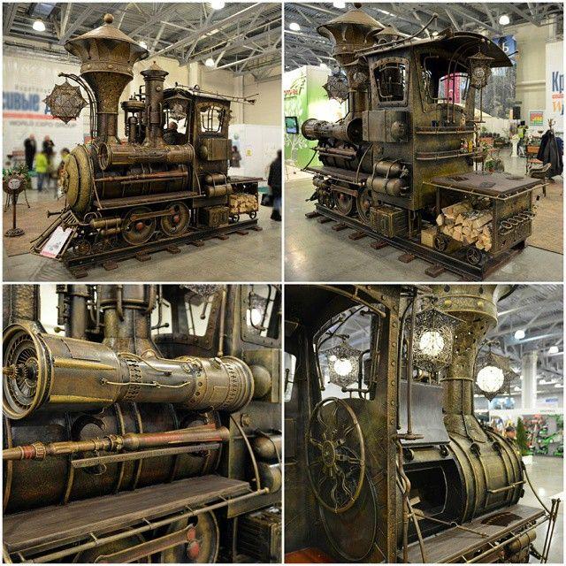 BBQ Steampunk II #steampunktendencies #steampunk #Design #bbq #Train #locomotive
