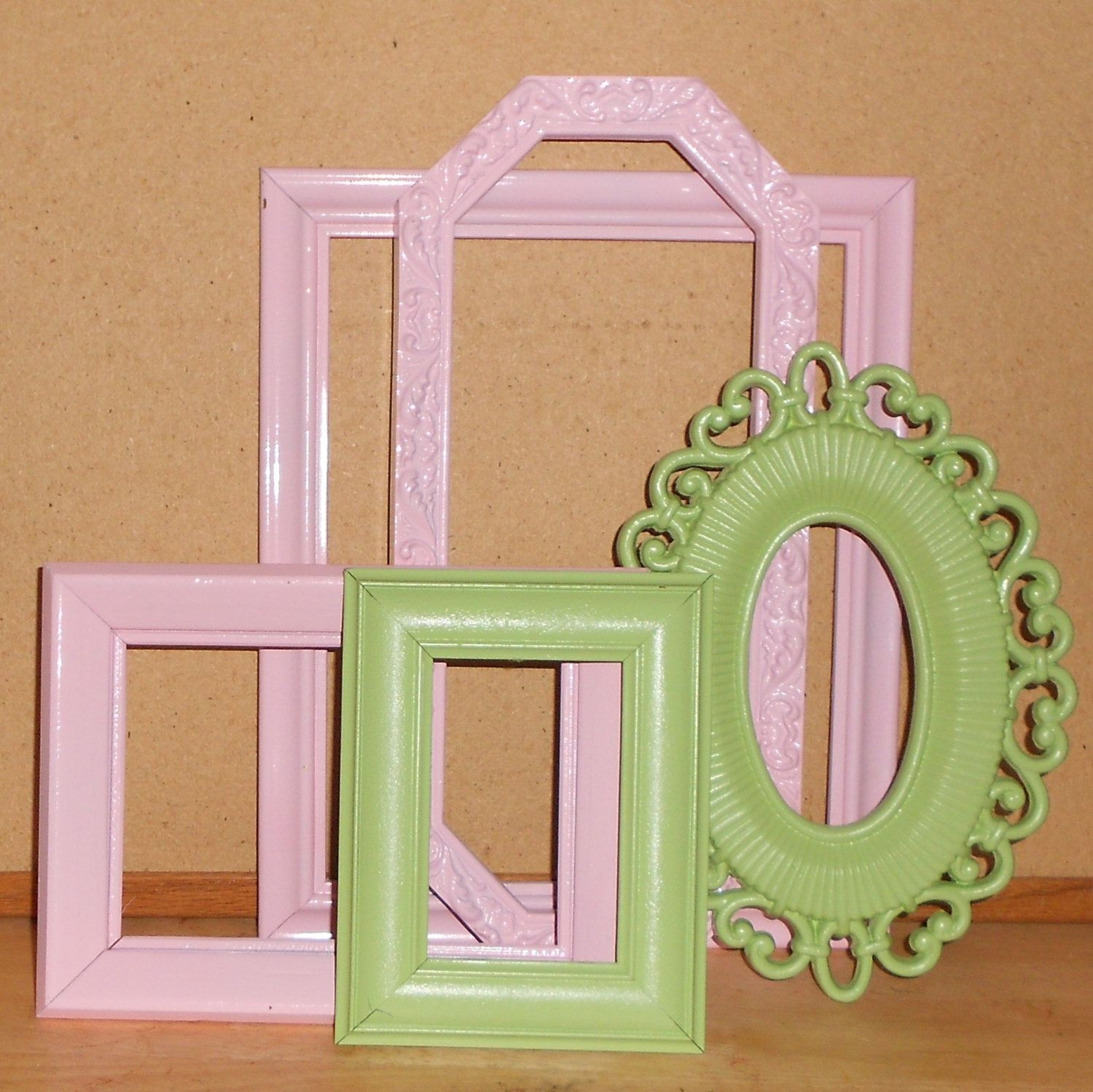 Pink and green picture frames 5 girly girl picture frames pink 5 girly girl picture frames pink green shabby chic country cottage wedding jeuxipadfo Images