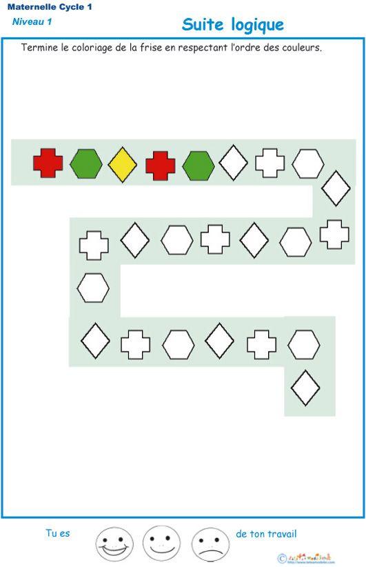 imprimer l 39 exercice 3 suite logique pour les enfants de ps maternelle exercice t te. Black Bedroom Furniture Sets. Home Design Ideas