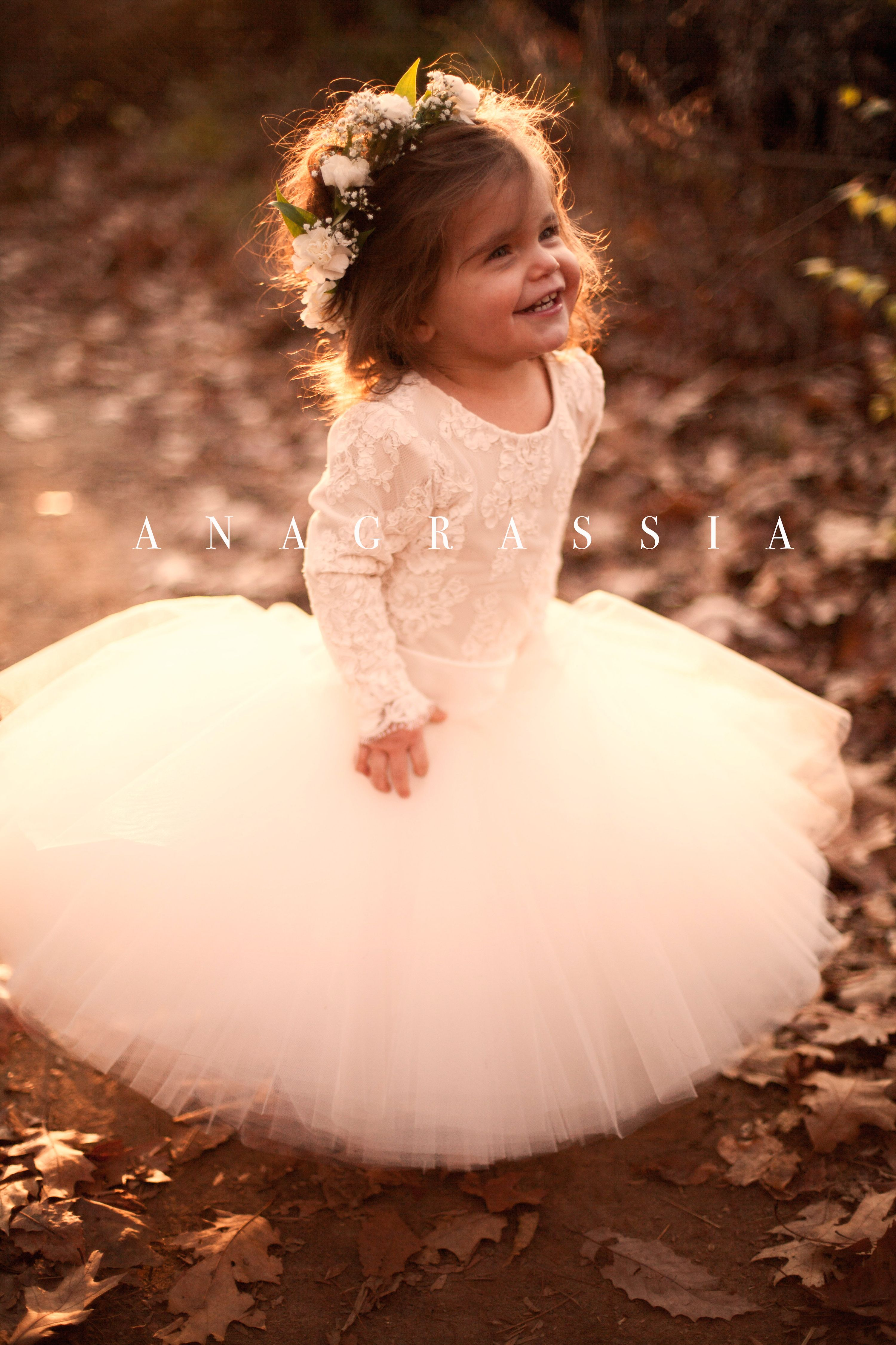 e022542455a Anagrassia Fall Wedding Flower Girl Dresses: Blush, Ivory, Nude, White, and