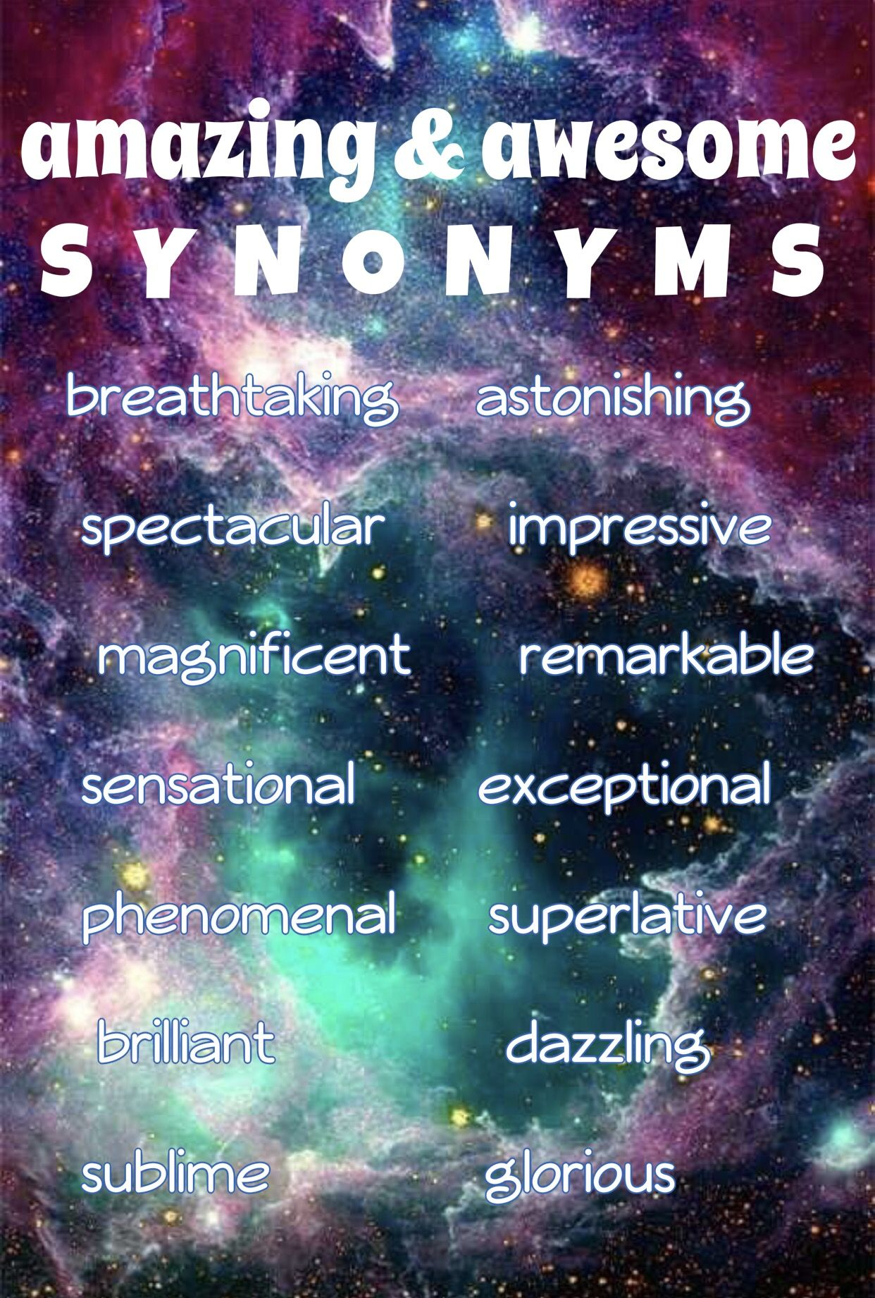 amazing and awesome SYNONYMS as in Jehovah is the superlative artist