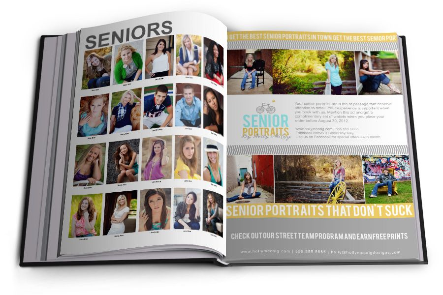 extended senior photographers high school yearbook ad template