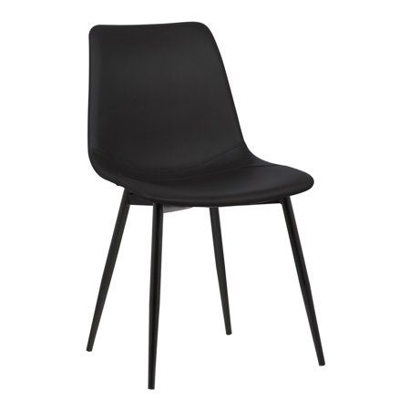 Armen Living Monte Contemporary Dining Chair In Black Faux Leather