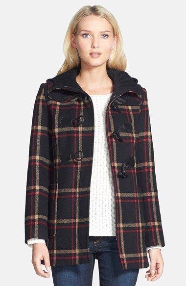 Pendleton Plaid Hooded Wool Blend Duffle Coat (Regular & Petite ...