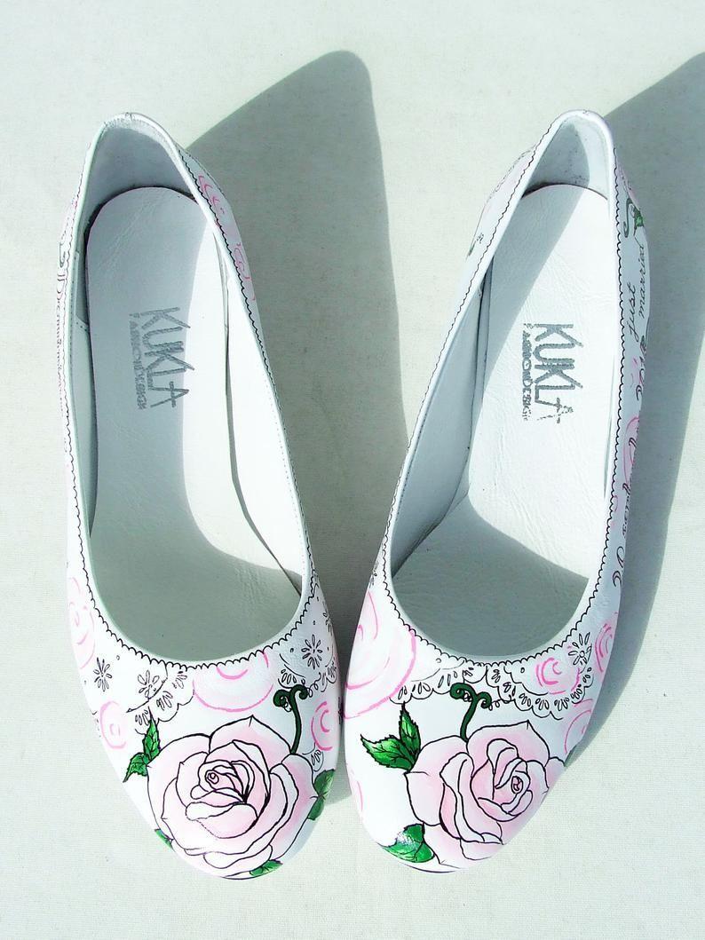 Custom Wedding Shoes Pink Rose Flats | Etsy