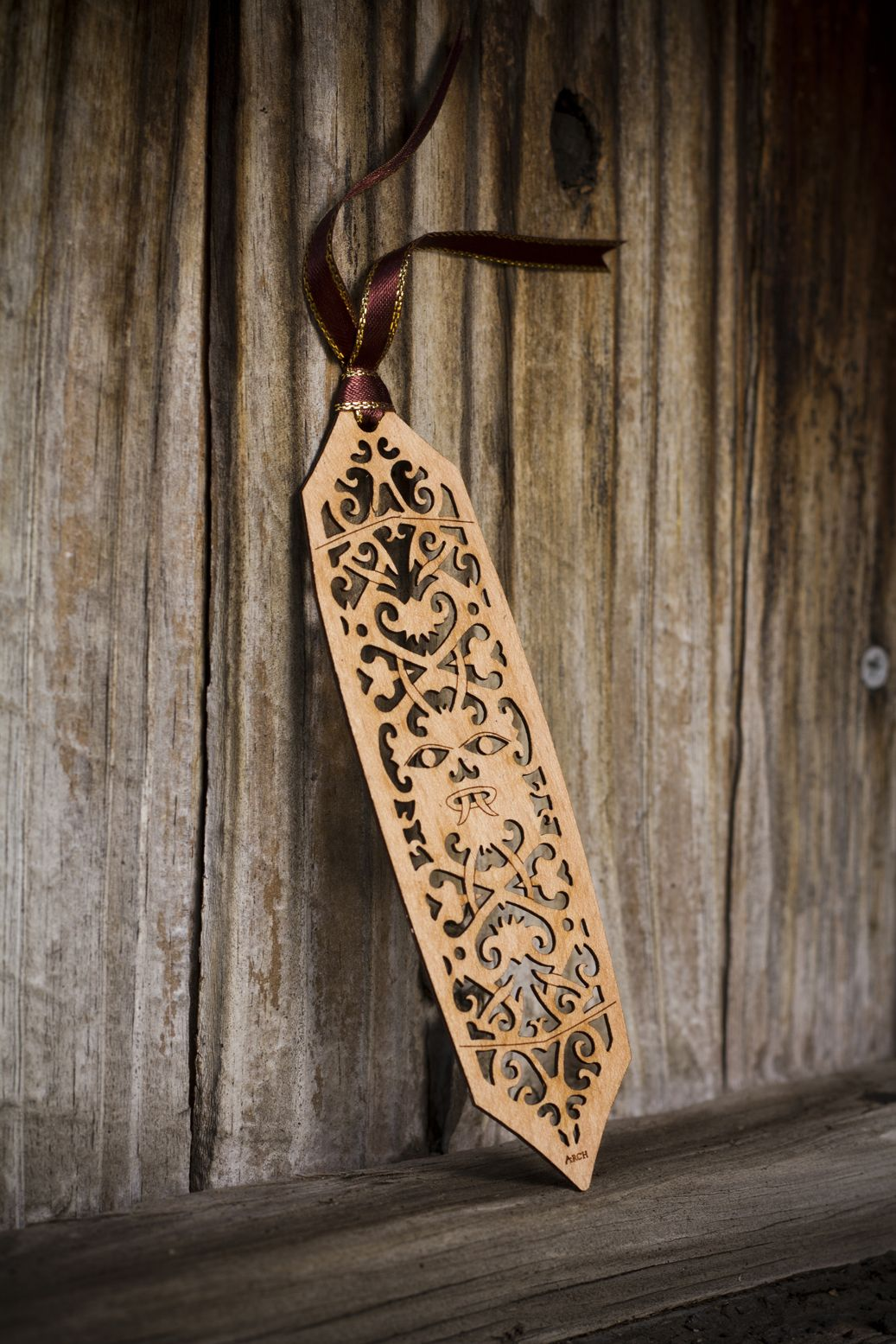 Tribal Sarawak Shield bookmark created by laser burning into the ...