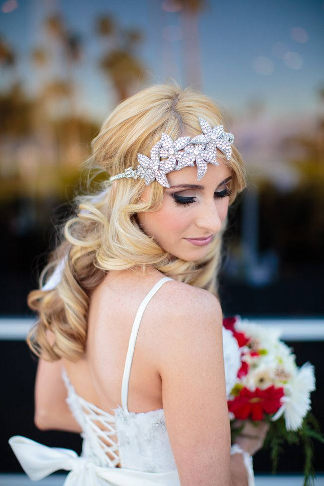Jeweled flower bridal headband | Palm Springs Desert Christmas Wedding At Indian Canyons Golf Club | Photograph by Kathleen Geiberger Art  http://storyboardwedding.com/palm-springs-desert-christmas-wedding-indian-canyons-golf-club/