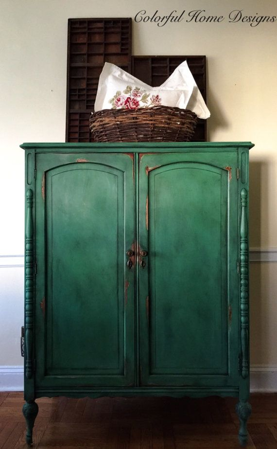 SOLD Vintage Hand Painted Armoire Annie Sloan Chalk Paint | emerald ...
