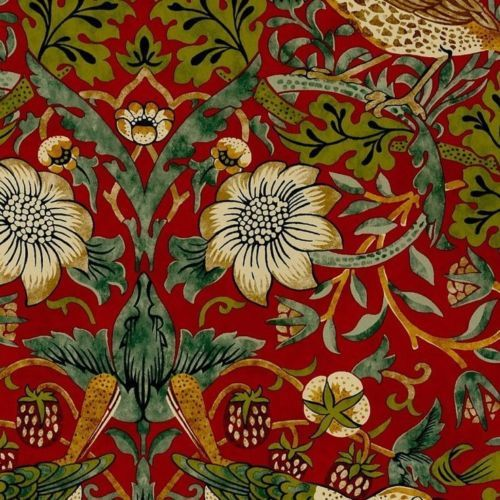 William Morris Vintage Wallpaper Strawberry Thief Crimson Slate Sold Per Roll