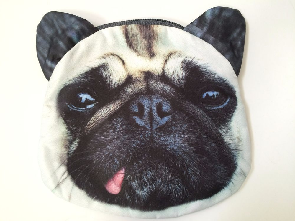Pug Face Purse Fawn With Tongue Out Cross Body Top Zip Closure