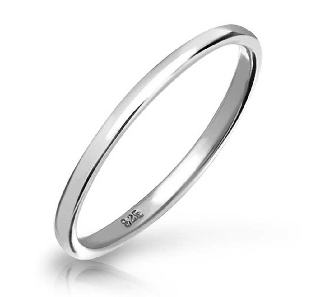 Solid 925 Sterling Silver Plain 2mm Thin Bridal Wedding Band Womens Fashion Ring Littl Silver Wedding Bands Sterling Silver Rings Sterling Silver Wedding Band