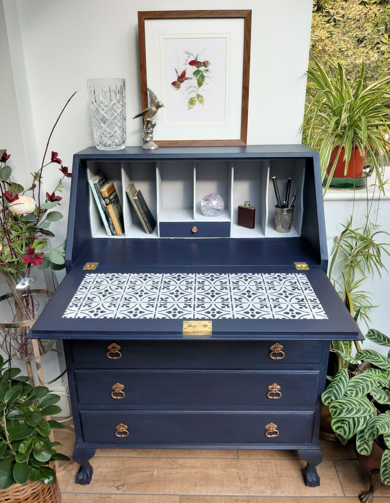 Vintage Bureau Writing Desk Upcycled & Painted in Oxford Navy