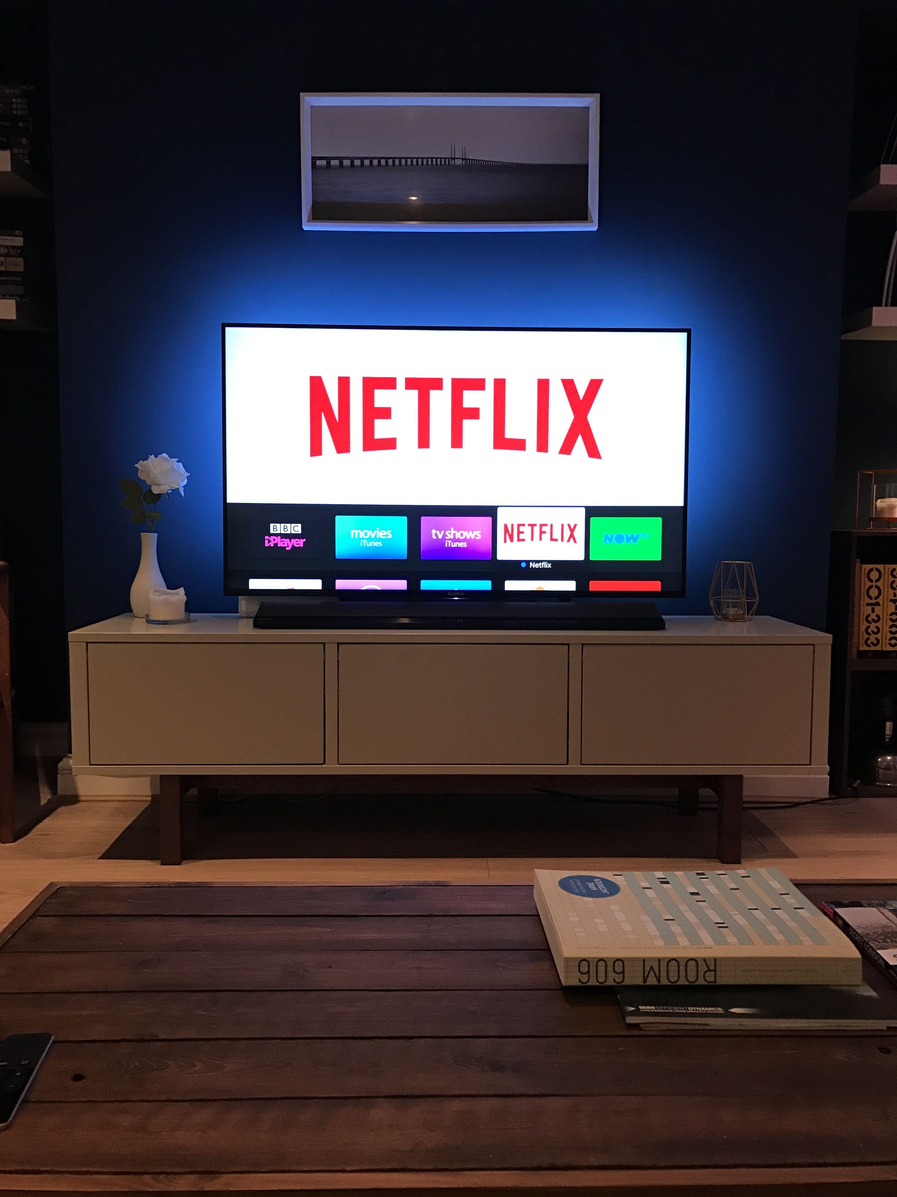 Phillips Hue Lightstrip In Place Behind Tv Room Setup Game Room Design Phillips Hue