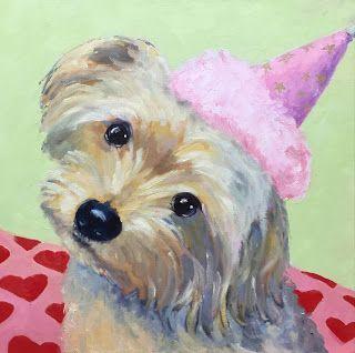 "Ceci Lam Paintings: ""Maddie"" 16 x 16 oil pet portrait"