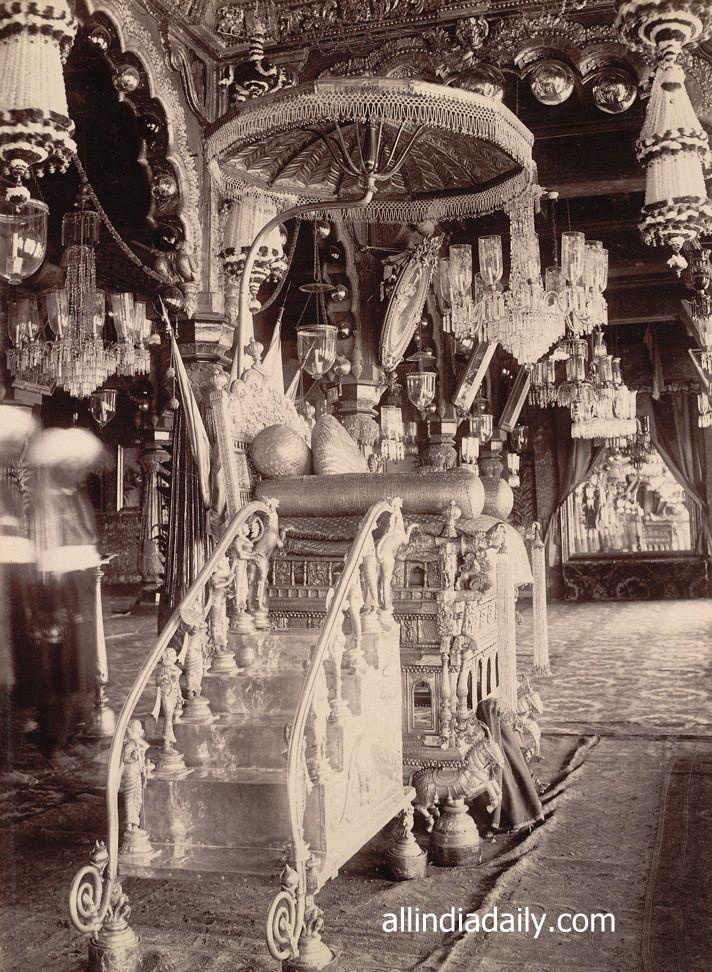 Golden Throne Mysore Palace Amba Vilas Rare Old India Photos 001