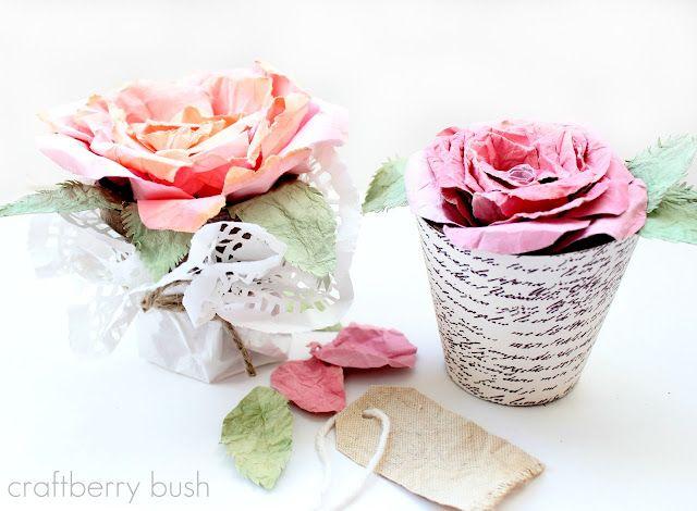 Handmade French Script Paper on flower pot by Craftberry Bush.  Love it.
