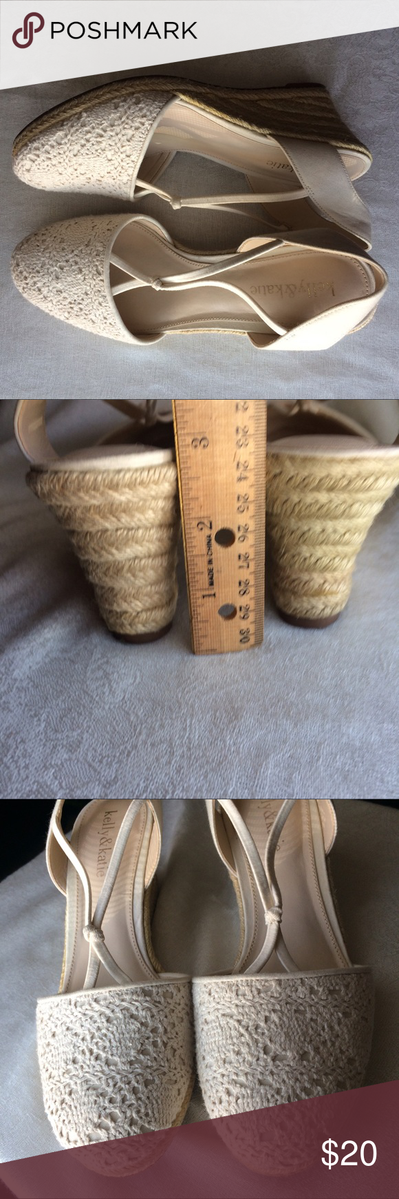 """KELLY&KATIE CROCHET WEDGE Cream colored crochet wedge. Excellent condition. Heel is about 2.75"""" Kelly & Katie Shoes"""
